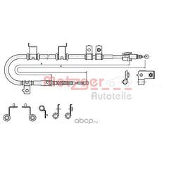 Трос, стояночная тормозная система (METZGER) 172575