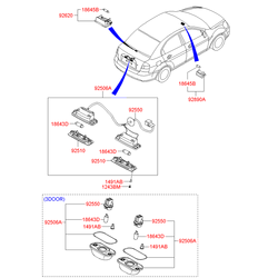 Фонарь подсветки номерного знака (Hyundai-KIA) 925013A000