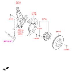 Ступица колеса (Hyundai-KIA) 51750F2000