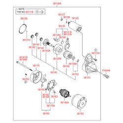 Стартер в сборе (Hyundai-KIA) 3610023070