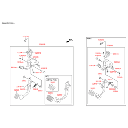 Заглушка подвески педали газа (Hyundai-KIA) 328764B000