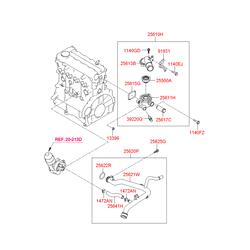 Термостатический регулируемый клапан системы охлаждения (Hyundai-KIA) 255002A100