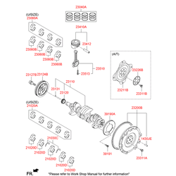 Комплект подшипников скольжения коленвала (Hyundai-KIA) 210202B010