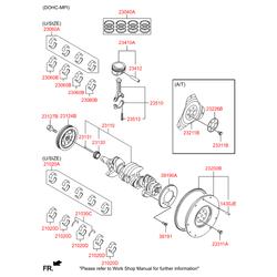 Комплект подшипников скольжения коленвала (4шт) (Hyundai-KIA) 210202B002