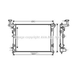 Радиатор, охлаждение двигателя (Ava) HY2180