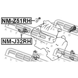 Подушка двигателя правая (Febest) NMZ51RH