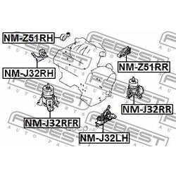 Подушка двигателя передняя (гидравлическая) (Febest) NMJ32RFR