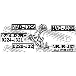 Сайлентблок передний переднего рычага (Febest) NABJ32S