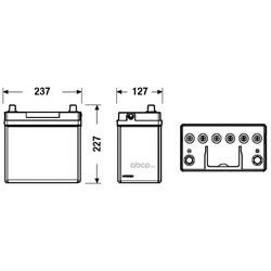 Батарея аккумуляторная 45А/ч 300А 12В обратная полярн. стандартные клеммы (DETA) DB454