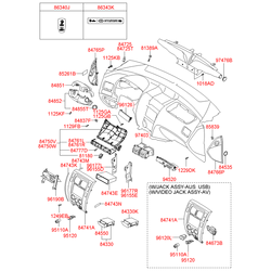 Фиксатор кожуха передней консоли салона (Hyundai-KIA) 847881H000