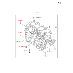Блок цилиндров в сборе (Hyundai-KIA) 2110027500