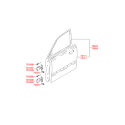 Дверь передняя левая (Hyundai-KIA) 7600325030