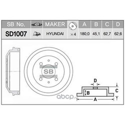 Диск тормозной (Sangsin brake) SD1007