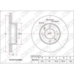 Диск тормозной передний (Sat) ST5171225061