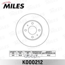 Диск тормозной передний вентилируемый (Miles) K000212