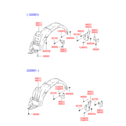 Подкрылок левый передний (Hyundai-KIA) 8681125000