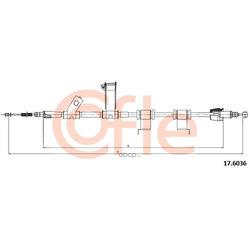 Трос стояночного тормоза правый задний (Cofle) 176036