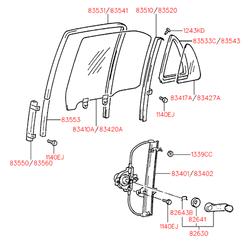 Уплотнитель стекла двери (Hyundai-KIA) 8355322001