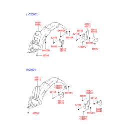 Опорная планка крепления подкрылка (Hyundai-KIA) 8683125000