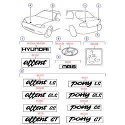 Эмблема декоративная (Hyundai-KIA) 8632022000ZZ