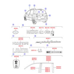 Эмблема пластик (Hyundai-KIA) 863202D001