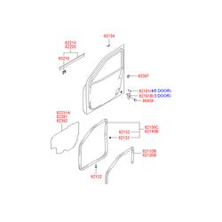 Уплотнитель стекла (Hyundai-KIA) 8212025000