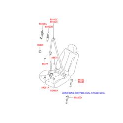 Ремень безопасности (Hyundai-KIA) 8887025401LT