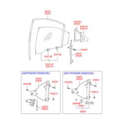 Механизм стеклоподъемника задней левой двери (Hyundai-KIA) 8340325010