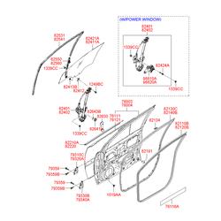 Уплотнитель стекла двери (Hyundai-KIA) 822101E000