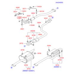 Глушитель труба выпускная (приемная) без катализатора (Hyundai-KIA) 2861025200