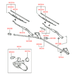Мотор щеток-дворников стекла лобового (Hyundai-KIA) 9810022100