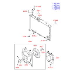 Вентилятор радиатора двигателя (Hyundai-KIA) 2538025000