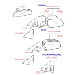 Крышка корпуса бокового зеркала (Hyundai-KIA) 8766122000