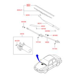 Мотор стеклоочистителя лобового стекла (Hyundai-KIA) 9810025001