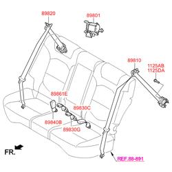 Ремень безопасности в сборе (Hyundai-KIA) 89820D7000TTX