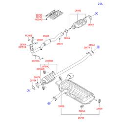 Выхлопная труба с глушителем (Hyundai-KIA) 286101F080