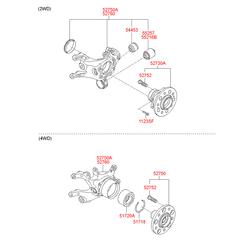 Поворотный кулак подвески (Hyundai-KIA) 527202Y900