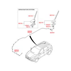 Корпус крепления штыревой антенны с электрическими разъемами (Hyundai-KIA) 962102Y300