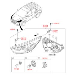 Фара передняя в сборе (Hyundai-KIA) 921022S610