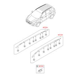 Рейлинг крыши кузова (Hyundai-KIA) 872702Y500