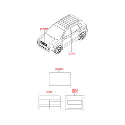 Наклейка с технической информацией на бумажной основе (Hyundai-KIA) 052032E400