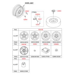 Декоративный колпачок колесного диска с эмблемой (Hyundai-KIA) 529602S250
