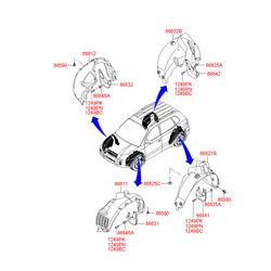 Брызговик передний левый под (расширитель) (Hyundai-KIA) 868312E010