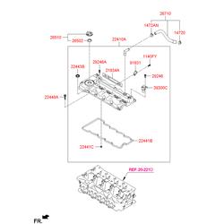 Клапанная крышка головки блока цилиндров (Hyundai-KIA) 224102A700