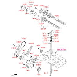 Втулка толкателя клапана двигателя (Hyundai-KIA) 222242F001