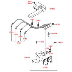 Провода свечные высоковольтные (Hyundai-Kia) 2743002610