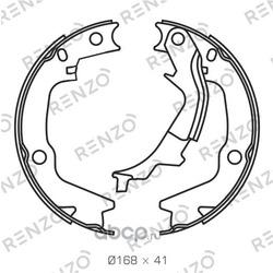 Комплект тормозных колодок, барабанный тормоз, задняя ось (RENZO) RZ053