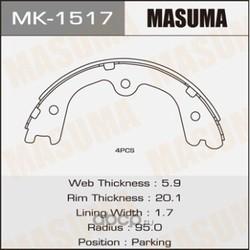 Колодки тормозные (Masuma) MK1517