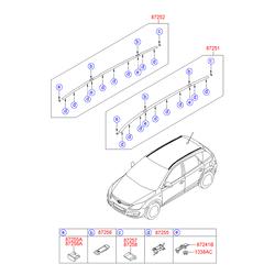 Рейлинг крыши кузова (Hyundai-KIA) 872702L100