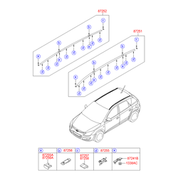 Рейлинг крыши кузова (Hyundai-KIA) 872802L100